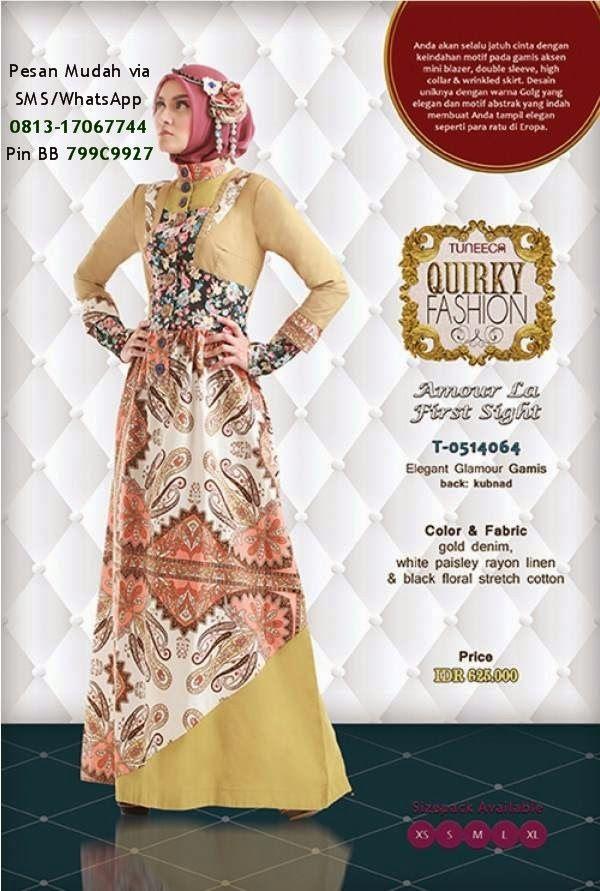 Baju Muslim Tuneeca Batik Kombinasi   Cantik Berbaju Muslim