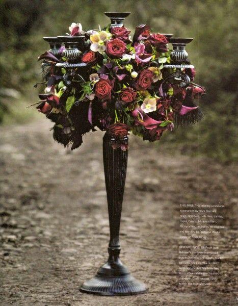 Candelabra w/Red & Deep Purple Flowers
