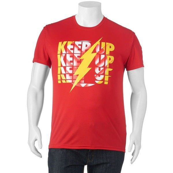 Big & Tall DC Comics The Flash Performance Tee ($20) ❤ liked on Polyvore featuring men's fashion, men's clothing, men's activewear, men's activewear tops, red and mens activewear