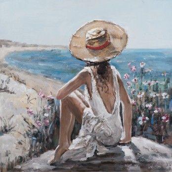 schilderij vrouw aan bar 100x100 atm670 - Schilderijenshop