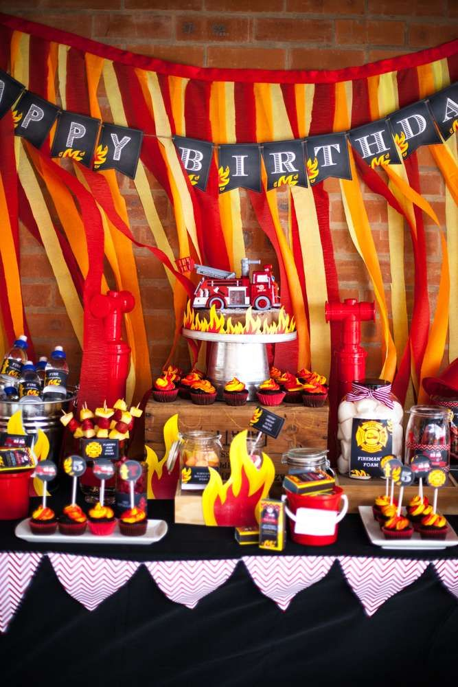 Check out this firetruck birthday party! See more party ideas at CatchMyParty.com!