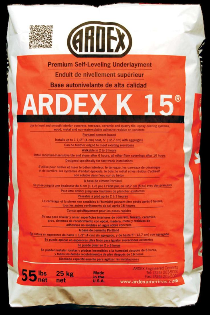 Premium Self-Leveling Underlayment ARDEX K 15® is the original and the most specified self-leveler in North America. Install over: interior concrete, terrazz...