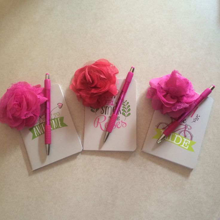 Love these little notebooks from the Thirty One Conference Store!  These were party favors for my daughter's birthday party. Added a pen and a rosette!  They loved them!