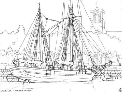 """Dundée caboteur """"Amphitrite"""" de Lorient,                                                                                                                                           à Lannion, dessin à la plume de Peter Anson;                    la corne de charge est en place  sur le mât d'artimon"""