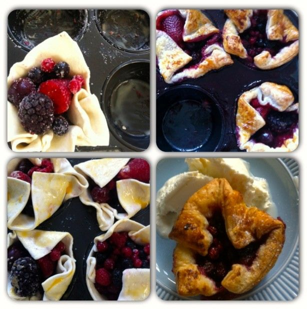Snel&Simpel: Fruittaartjes  in ingevette muffinbakblik een plak ontdooide bladerdeeg leggen. Pakje bevroren rode fruit met suiker vermengen en over het blik verdelen. Dan de bladerdeegflapjes beetje dichtvouwen en met eigeel besmeren. 20 minuten in de oven op 180C. Vanilleijs erbij en klaar! Zo makkelijk!
