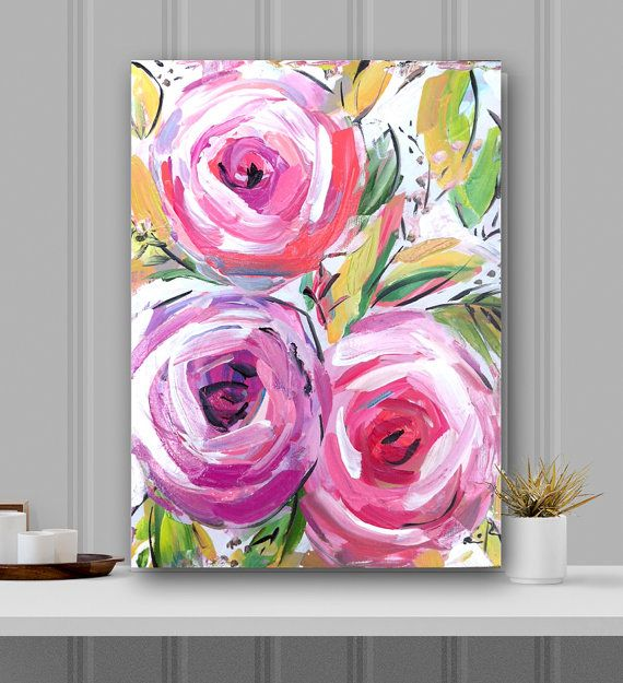Abstract Flowers Roses canvas, folk, folk art, edgy, whimsical,modern, pink lime by Marendevineart on Etsy