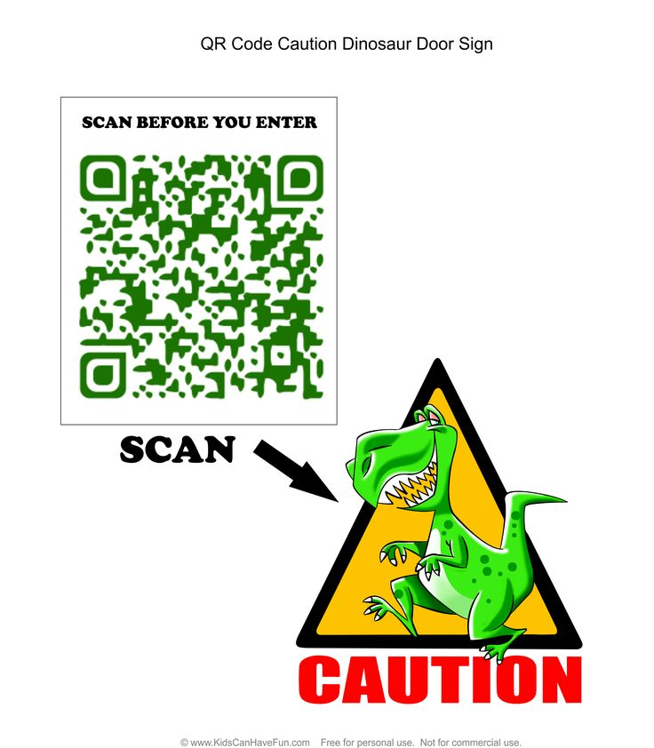 Scan before you enter dinosaur caution sign http://www.kidscanhavefun.com/qr-codes-for-kids.htm #qrcode #dinosaur #kidsactivities