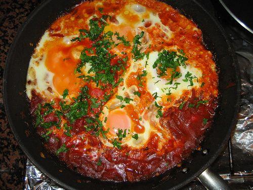 Shakshuka recipe  spicy tomatoes and eggs breakfast from israel - laaloosh