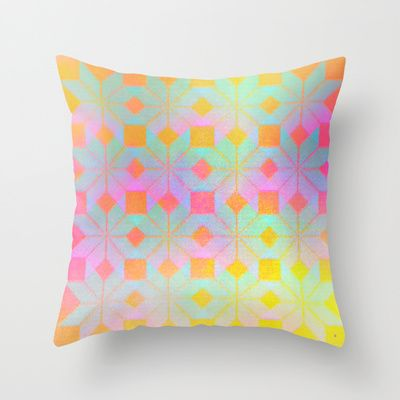 Idun Goddess of Youth Throw Pillow by Gréta Thórsdóttir - $20.00 #floral #youth #ikat  #ethnic #zigzag #coral #mint #girly