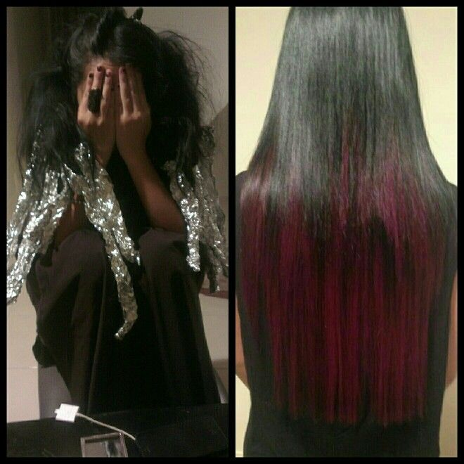Hair by me - black to a vibrant purple fade out using Goldwell Ellumen