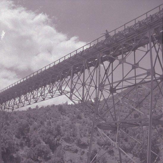 Puente ferroviario Bío Bío en 1960. Puente ferroviario Bío Bío en Concepción, construido en 1889.  Foto de Ignacio Hochhäusler Biblioteca Nacional de Chile  - EnterrenoEnterreno