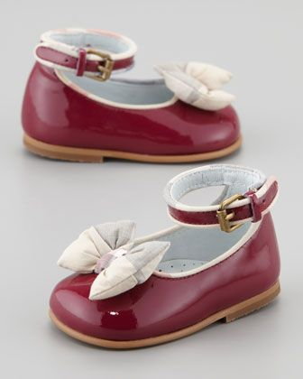 Newborn Patent Check-Bow Shoe, Raspberry Sorbet by Burberry at Neiman Marcus.