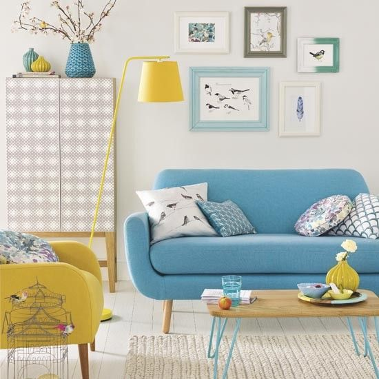 Modern white living room with colour pops Refresh a tired living room with a cheery new colour treatment. Go for a bright contrast that will energise the space, such as this turquoise and yellow combination, or experiment with pairing colours like orange and grey, or pink and cobalt blue. http://bit.ly/1CL7VGN