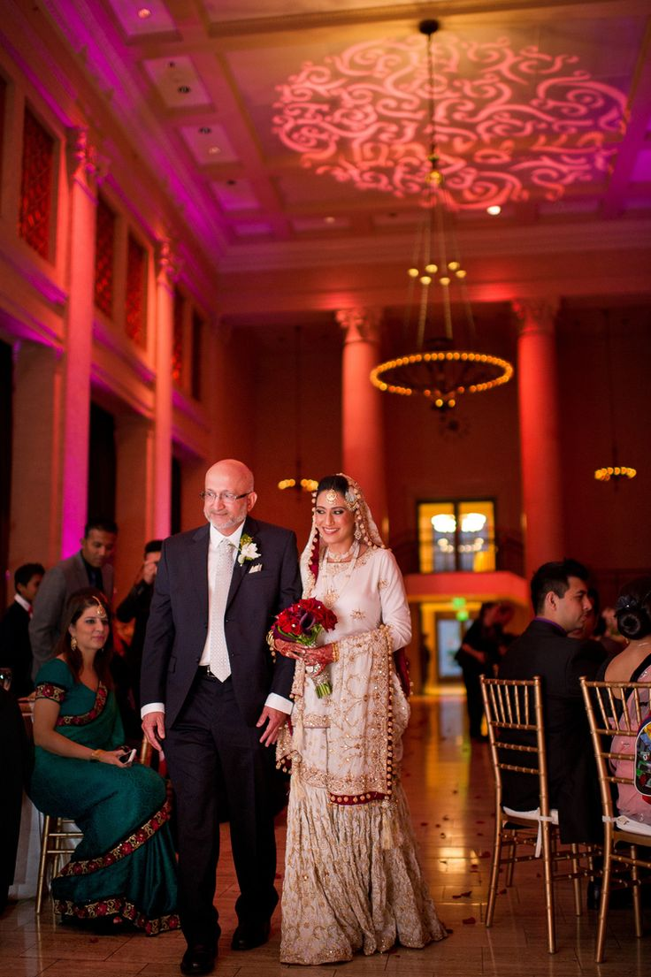 Check out the beautiful gobo lighting we did at this wedding! Its hard to not look at the stunning bride and her father. We love this photo!!