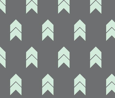 mint and grey chevron fabric by >>mintpeony<< on Spoonflower - custom fabric