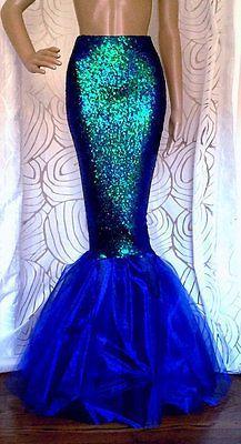 Falda Sexy Lentejuelas Cola De Sirena Traje Azul Joya Tamaño: S M L XL para Adulto Para Mujer