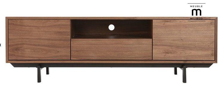 Meuble TV design vintage 160cm noyer MANNY pas cher prix Meuble TV Miliboo 279,90 €