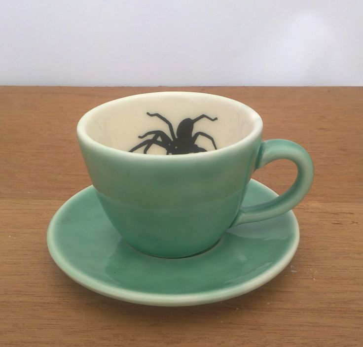 Spider cup and saucer by Wigleyware Ceramics.