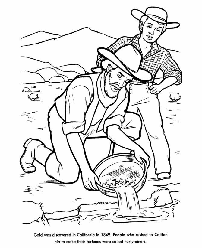 Gold rush pictures for children to draw - Google Search