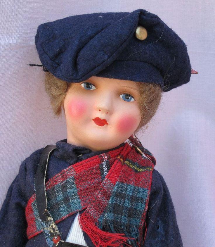 """Scottish Doll, Vintage German Papier Mache 10"""", Plaid Outfit, Mohair Wig"""