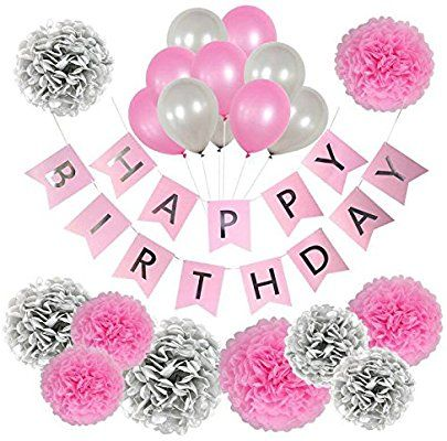 Amazon Birthday Decorations For Women And Girls Pink Silver Happy Banner Girl Set Teen 1st