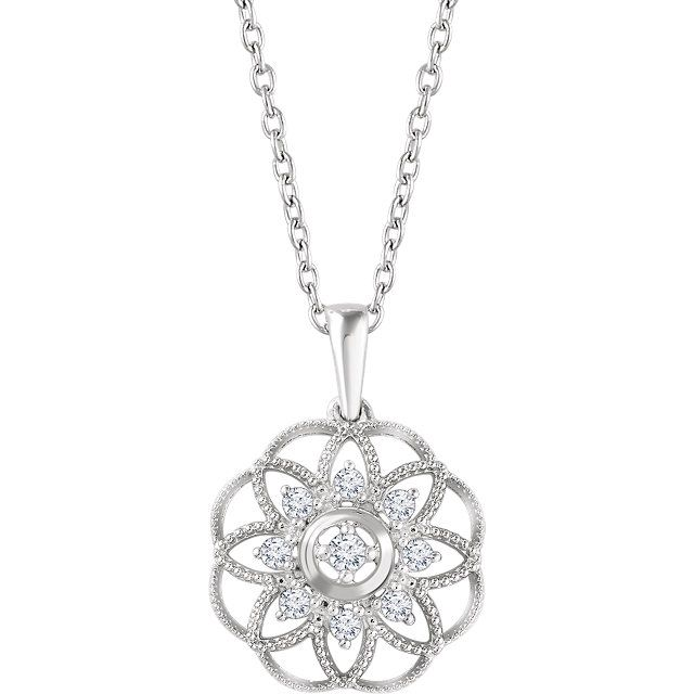 Please Take A Moment To Visit Our Store!    MSRP: $999.99  Our Price: $699.99  Savings: $300.00    Item Number: 652605    Availability: Usually Ships within 5 Business Days    PRODUCT DESCRIPTION:    Crafted in 14k Gold, this beautiful drop pendant for her features brilliant round diamonds in an intricate Sun Flower design with a milgrain finish for a truly vintage look.    FEATURES:    14k White Gold  1/5 Carat Total Diamond Weight  Sun Flower Design  Milgrain Finish  Vintage Appeal…