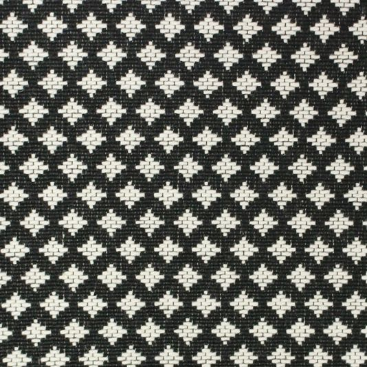 June Diamond Upholstery fabric woven with small black and cream woven diamond design.