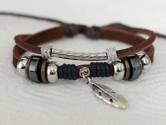 069 Handmade brown leather bracelet Metal feather charm with rings and tube Fashion jewelry Friendship bracelet Birthday gift For him & her