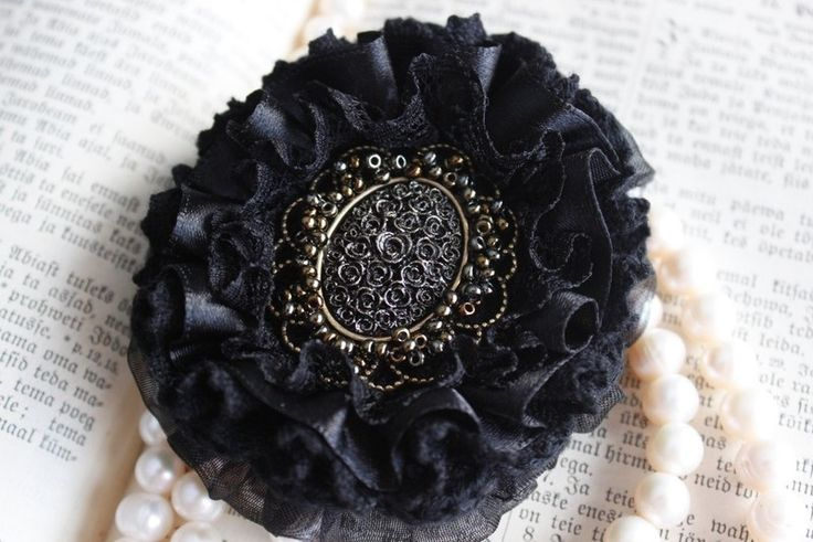 Black brooch with rose cameo from From Lucky Lonny With Love by DaWanda.com