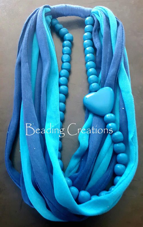 WOODEN BEADED T-SHIRT FABRIC SCARF NECKLACE - TURQUOISE BLUE AND DARK BLUE for R120.00