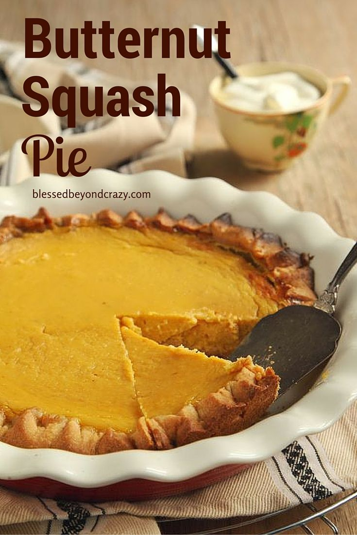 Butternut Squash Pie - although pumpkin usually takes front and center stage this time of year, butternut squash can be just as delicious. This pie is proof!  #blessedbeyondcrazy #pie