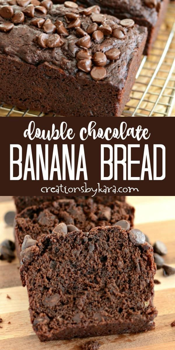 Mar 24, 2020 – Decadent Double Chocolate Banana Bread. A delicious way to use up those overripe bananas! Chocolate fans …