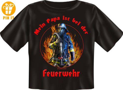 Baby-Shirt Grössen S-M-L Papa ist bei der Feuerwehr Baby L 80-86 - T-Shirts mit Spruch | Lustige und coole T-Shirts | Funny T-Shirts (*Partner-Link)