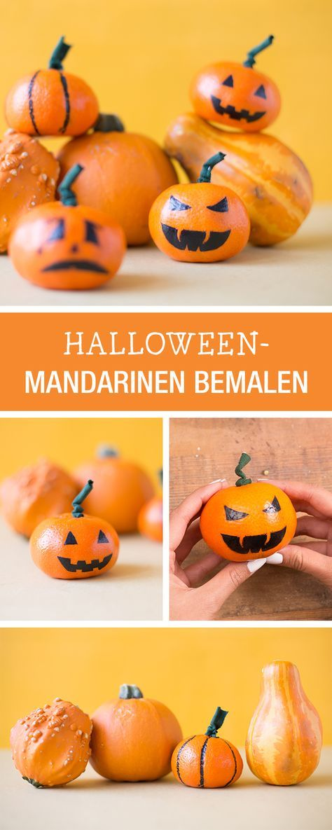 Witziges Halloween-DIY für Kinder: Mandarinen als Kürbisse bemalen / easy halloween diy for kids: fake pumplins via DaWanda.com