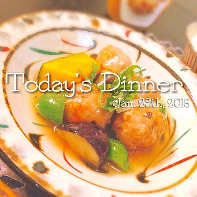 先月末の晩ごはん。 - 21件のもぐもぐ - 肉団子と素揚げ野菜の和風あんかけ by アキコ