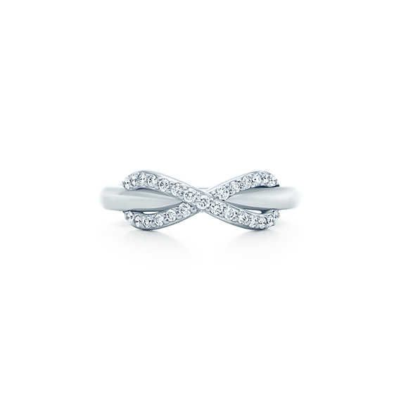 Tiffany Infinity ring in 18k white gold with diamonds.