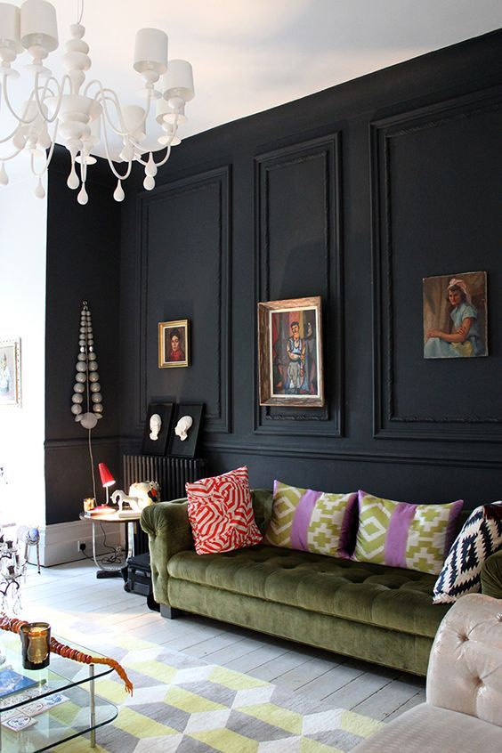 black feature wall olive green velvet chesterfield - Swoon Worthy - LivingEtc House Tour:
