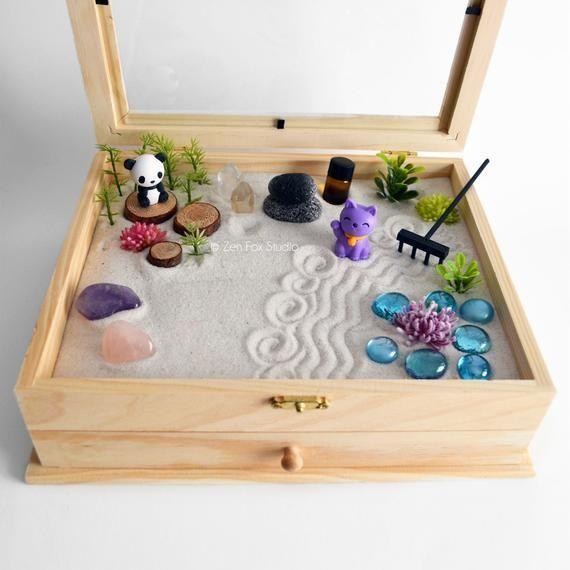 Zen Garden Meditation Box Quartz Crystals Fairy Garden Diy Kit Buddha Panda Lucky Cat Statue Zen Garden Diy Zen Garden Mini Zen Garden