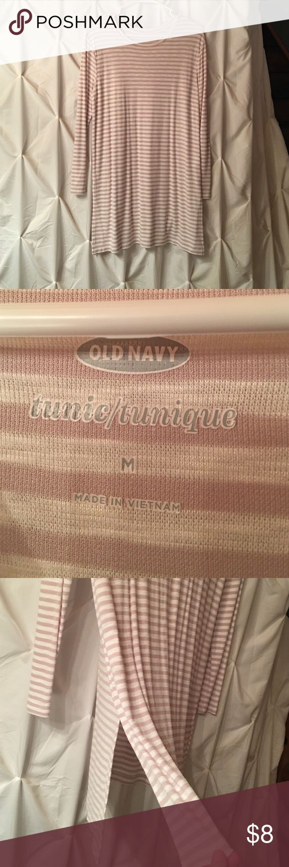 Old Nacy long sleeve beige & white striped tunic Size medium, kind of thin so a cami looks best underneath. Looks great with leggings or jeans! Old Navy Tops Tunics