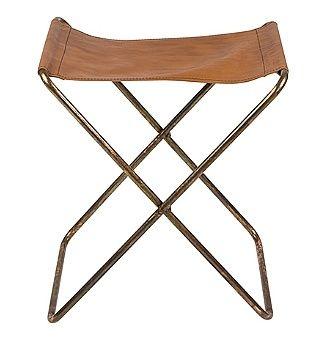 Chaise pliante 'Nola' Cuir/Fer Antique Fini en cuivre