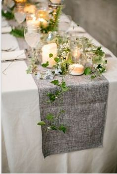 grey and white table set