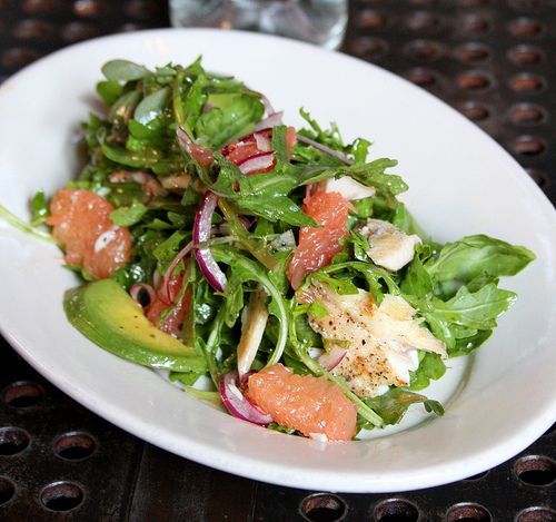 Smoked trout salad with grapefruit, avocado, shaved red onion, arugula ...