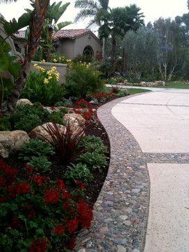 tropical, mediterranean, colorful planting, pool, palapas mediterranean landscape