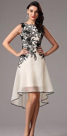 Black Lace Applique Cocktail Party Dress.