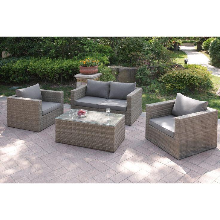 Poundex Tulchyn 4-piece Patio Sofa Set (Tan), Size 4-Piece Sets, Patio Furniture (Aluminum)