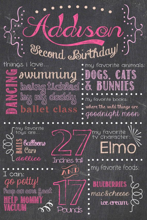 Birthday Chalkboard Sign / Printable / Girl First Birthday Chalkboard Poster *Includes Free file for Facebook sharing!*