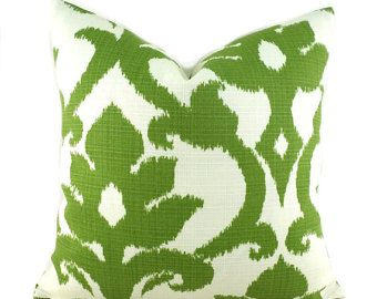 Indoor Outdoor Pillow Covers ANY SIZE Decorative Pillows Green Pillows Richloom Outdoor Basalto Kiwi Green