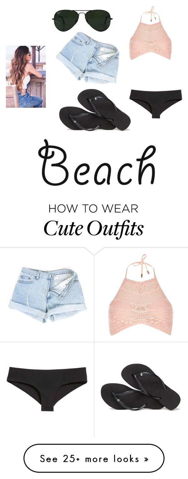 """""""Cute casual beach outfit"""" by gabby-locke on Polyvore featuring River Island, Havaianas, Ray-Ban and coverups"""