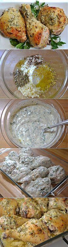 КУРИЦА В МАРИНАДЕ ПО-ГРЕЧЕСКИ... йогурт (без ароматизаторов) 1 стакан курятина (ножки, крылышки, пульки) 2 кг лимон (средний) 1 шт. оливковое масло 2 ст. л. орегано сухое 1/2 ст. л. перец черный молотый по вкусу петрушка свежая 1/4 пучка соль 1/2 ч. л. чеснок 2 зубчика