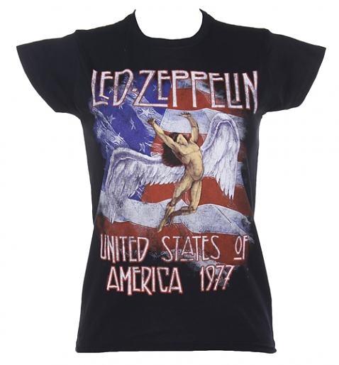 Ladies Black Led Zeppelin Stars And Stripes 1977 T-Shirt